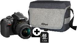 Spiegelreflexkameras - NIKON D3400 Kit Spiegelreflexkamera, 24.2 Megapixel, 18-55 mm Objektiv (AF-P, DX), Schwarz