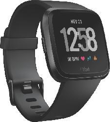 Smartwatches - FITBIT  Versa Smartwatch Aluminium, Elastomer, S-L, Schwarz/Schwarz