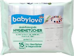 babylove Hygienetücher desinfizierend parfümfrei 15 Tücher