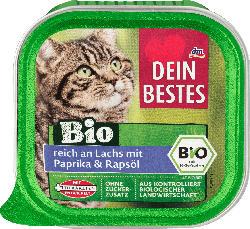 Dein Bestes Nassfutter für Katzen, Bio reich an Lachs mit Paprika & Rapsöl, 100 g