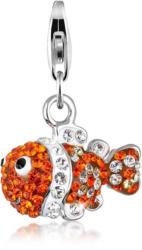 Nenalina Charm-Einhänger »Fisch Meer Bunt Swarovski® Kristalle 925 Silber«