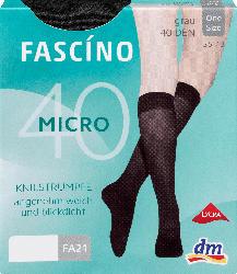 FASCÍNO Kniestrümpfe aus Microfaser 40 DEN, grau, one size
