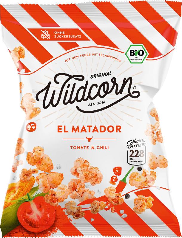 Wildcorn Popcorn, El Matador, salziges Popcorn mit Tomate & Chili