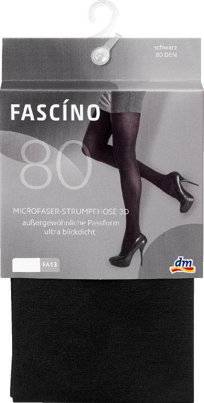 FASCÍNO Strumpfhose 3D aus Microfaser 80 DEN, schwarz Gr. 42/44