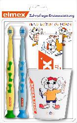 elmex Kinder Zahnpflegeset mit 2x Zahnbürste, Zahncreme 50ml und 1x Becher