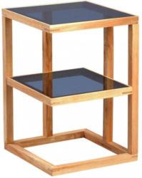Beistelltisch In Holz, Glas 40/40/60 Cm