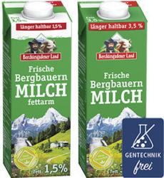 Berchtesgadener Land Frische Bergbauern Milch 1,5/3,5 % Fett jede 1-Liter-Packung