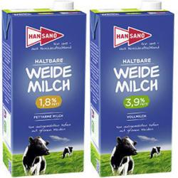 Hansano Haltbare Weidemilch 1,8/3,9 % Fett, jede 1-Liter-Packung