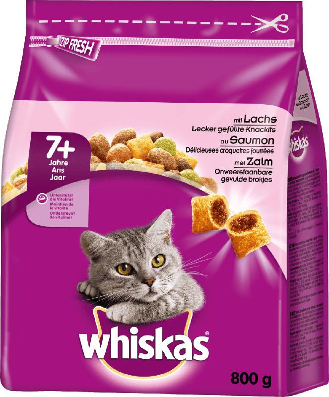 Whiskas Trockenfutter für Katzen, Senior 7+ mit Lachs