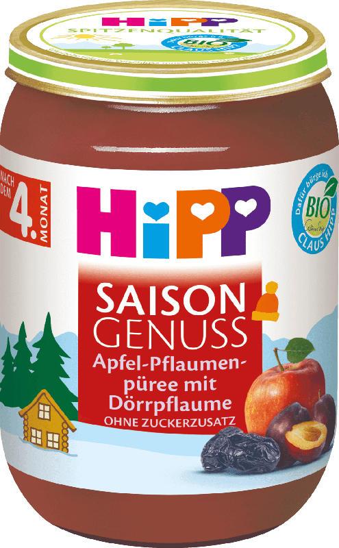 Hipp Früchte Saison Genuss Apfel-Pflaumenpüree mit Dörrpflaume nach dem 4. Monat