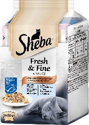 Sheba Nassfutter für Katzen, Fresh & Fine, Fisch Variation mit Gemüse in Sauce, 6x50g
