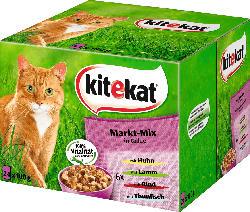 kitekat Nassfutter für Katzen, Markt-Mix in Gelee, Multipack, 24x100g