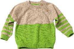 ALANA Baby-Strickpullover, Gr. 62, in Bio-Baumwolle und Schurwolle, grün, beige, für Mädchen und Jungen