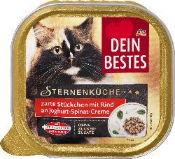 Dein Bestes Nassfutter für Katzen, Sterneküche Rind an Joghurt-Spinat-Creme
