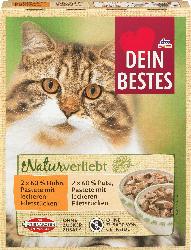 Dein Bestes Nassfutter für Katzen, naturverliebt, Beutel-Variation mit 60 % Huhn und 60% Pute, 4x85g