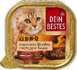 dm-drogerie markt Dein Bestes Nassfutter für Katzen, BBQ marinierte Streifen mit Pute, in Sauce