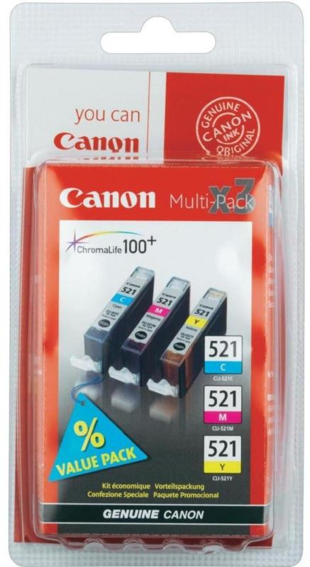 Canon Tintenpatrone CLI-521 Multipack (C/M/Y) BRANDNEU