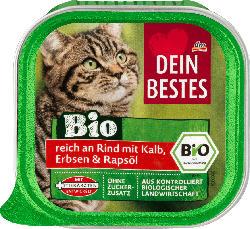 Dein Bestes Bio, Nassfutter für Katzen, reich an Rind mit Kalb, Erbsen und Rapsöl