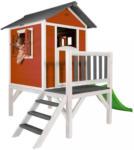 Möbelix Stelzenspielhaus Holz mit Rutsche Weiß/Rot Sunny Lodge Rot, Weiß