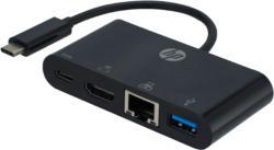 USB Hubs - HP 2UX24AA USB-C™ auf HDMI, USB-C, USB 3.0 und Ethernet - Mehrfachconnector, HDMI Hub, Schwarz