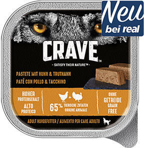 Crave Hunde-Nassnahrung versch. Sorten jede 300-g-Schale
