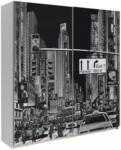 Möbelix Schwebetürenschrank Plakato City B:170cm Weiß Dekor Schwarz, Weiß