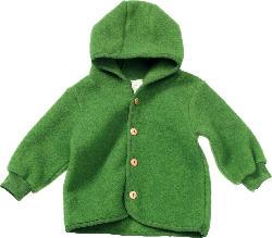 ALANA Baby-Kapuzenjacke, Gr. 80, in Bio-Schurwolle und Bio-Baumwolle, grün, für Mädchen und Jungen