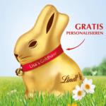 Lindt Gratis Goldhasen Personalisierung beim Kauf eines 200g Goldhasen - bis 01.04.2018