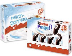 kinder Pingui 8 x 30 = 240 g oder Milch-Schnitte 10 x 28 = 280 g, jede Packung