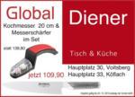 Glaswerkstatt Diener Set: Global Kochmesser 20 cm und Messerschärfer - bis 24.12.2013