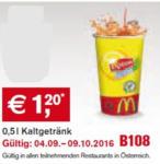 Mc Donald's 0,5 l Kaltgetränk - bis 09.10.2016