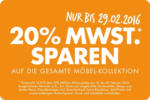 Interio Wohngalerie Plus City -20% MWST. auf die gesamte Möbelkollektion - bis 29.02.2016