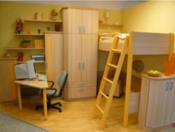 Jugendzimmer in Dekor Buche Hell und Orange