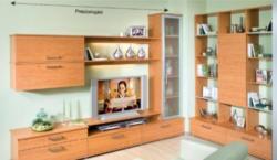 Moderne TV-Wohnwand mit Glasvitrine in Dekor Erle