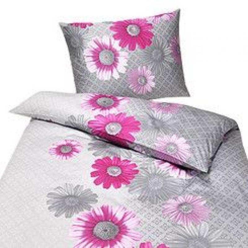 Exclusive   Satin-Bettwäsche pinke Blüten