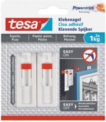 TESA verstellbarer Klebenagel für Tapeten und Putz 2 Stück weiß