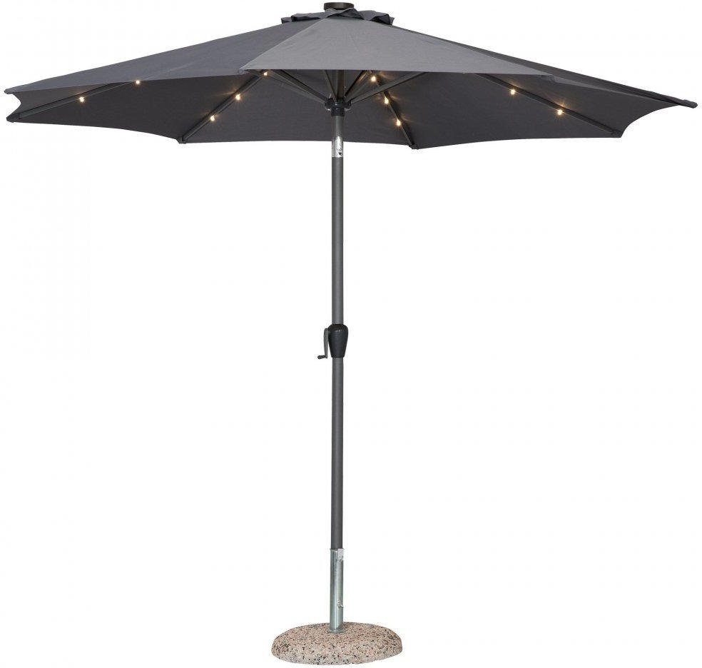 Alu Sonnenschirm mit LED Beleuchtung (grau)