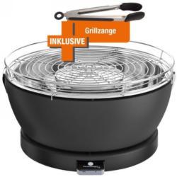 Feuerdesign Vesuvio anthrazit Holzkohle-Tischgriller + Grillzange