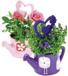 Mini Rosen / Mini Glockenblume in Gießkanne