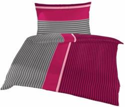Bettwäsche Bettina Dunkelgrau, Dunkelrosa, Pink, Rosa, Weiß