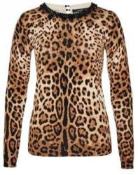 Pullover mit Leo-Print und Perlenausschnitt