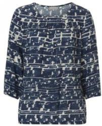 Bluse weiß-blau mit allover Print