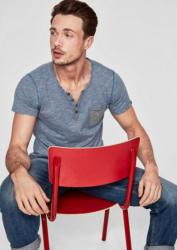 s.Oliver RED LABEL Fein geringeltes Henleyshirt