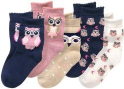 5 Paar Mädchen Socken mit Eulen-Motiv