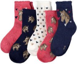 5 Paar Mädchen Socken mit Pferde-Motiven