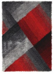 Novel Hochflorteppich grau, rot, schwarz