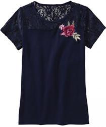 Damen-T-Shirt mit Spitze und Rosen-Applikation