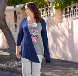 Damen-Shirt mit Cardigan, große Größen