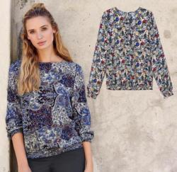 Damen-Bluse mit tollem Frühlings-Muster