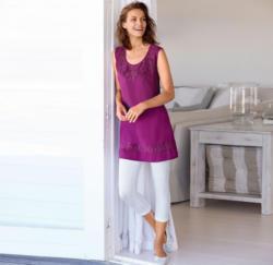 Damen-Leinen-Kleid mit Spitzen-Verzierungen